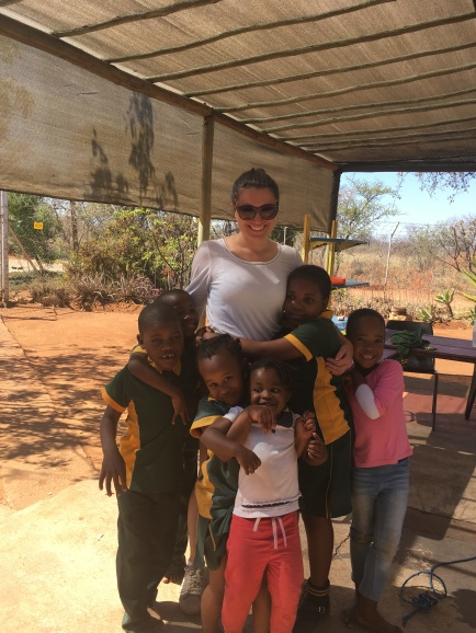 Ruby with some of the children at Briershof