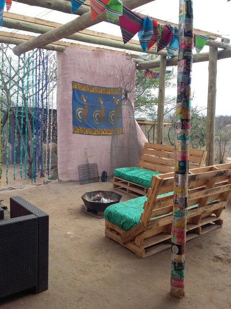 Pallet furniture social area at Shik Shack