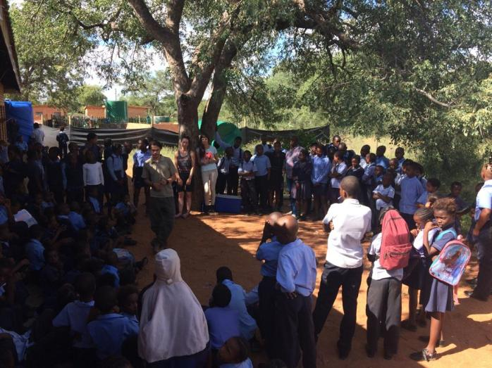 Crowd control when we learnt about snakes at Alldays Primary!